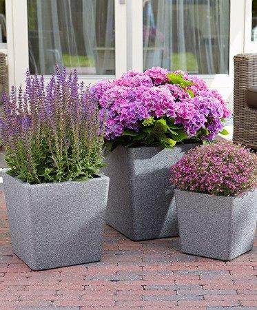 Set of 3 IQBANA CONICAL pots - Grey