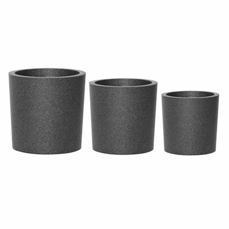 Set of 3 IQBANA ROUND pots - Black - 390/320/250