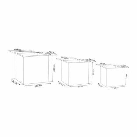 Set of 3 IQBANA SQUARE pots - Black - 480/390/320